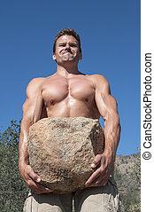 Strong man - Strong muscular shirtless Caucasian man ...