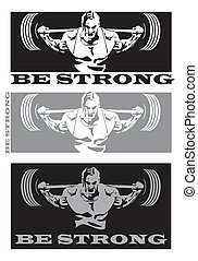 strong man - stylized illustration on the theme of strong...