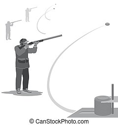 strong man's hobby - man shoots at a flying clay pigeons...