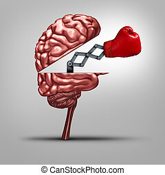 Strong memory and brain strength symbol as a human thinking organ opened to reveal a boxing glove as a concept for fighting alzhiemers disease and other dimentia illnesses or education tools to help competitiveness.