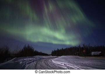 Strong multicolor display of northern lights