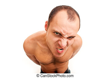 angry man with hairy chest - strong muscular angry man with...