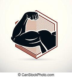 Strong muscular arm, athlete graphic vector illustration. Power lifting.