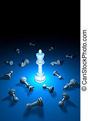 Strong personality (chess metaphor). 3D rendering illustration. Free space for text.