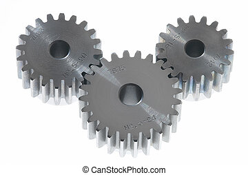 strong - three metal cogwheels on white background
