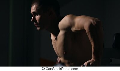 Strong powerful male exercises for pectoral muscles and...