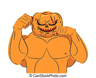 Strong Pumpkin fighter ready for battle. Halloween character with big muscles. Bad, terrible vegetable attacks. Vector illustration for holiday.