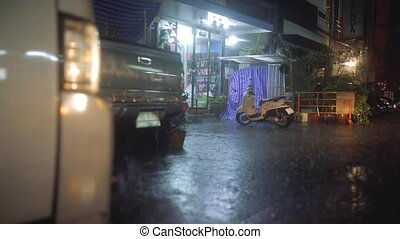 Strong Rain in the night city with car lights - Heavy...