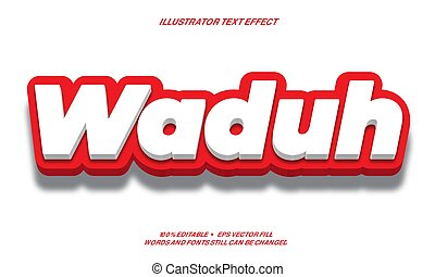 strong red and white 3d  text effect style design illustrator