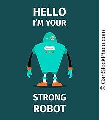 Strong robot vector poster