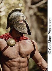 Strong Roman warrior in armor