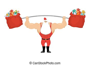 Strong Santa Claus holding barbell and gift bag. Sports for...