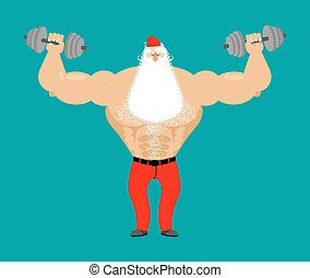 Strong Santa Claus with dumbbell. Fitness man. Bodybuilder Christmas. Santa with white beard and mustache. Athlete with big muscles