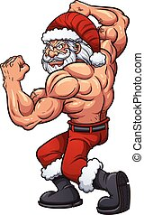 Strong Santa - Strong cartoon Santa Claus. Vector clip art...