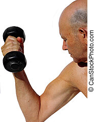 strong senior - elderly man lifts weights  (logos removed)