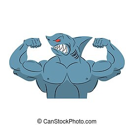Strong shark athlete. Fish bodybuilder with huge muscles. Sports team mascot. Vector illustration sea dweller