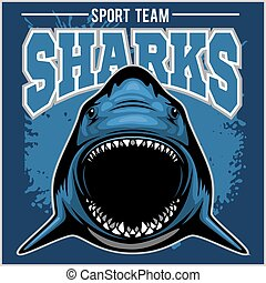 Strong shark sports mascot. Vector illustration. - Strong...
