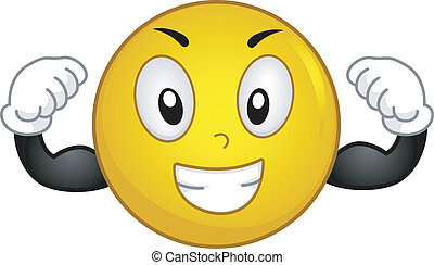 Strong Smiley - Illustration of a Smiley Flexing Its Muscles