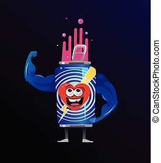 Strong smiling energy drink can character mascot showing muscles hand. Energy power burn strength concept. Vector flat cartoon isolated illustration