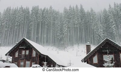 Strong snow comes on the background of Christmas trees and wooden house
