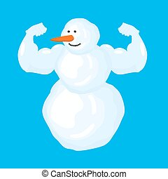 Strong snowman isolated. Winter fitness. Snow Sports. Vector...
