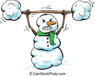 Strong Snowman Workout - A strong, cartoon snowman working...