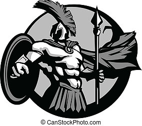 Muscular Greek Spartan or Trojan Mascot Holding a Shield and Spear Vector Illlustration
