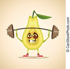 Strong sport pear squats and doing exercise. Vector cartoon illustration