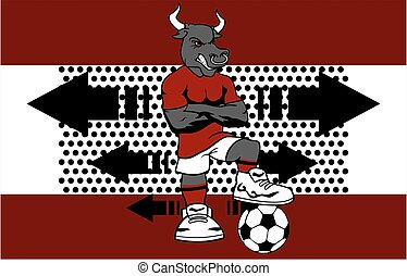 strong sporty bull soccer player cartoon background