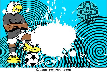 strong sporty eagle soccer player cartoon background