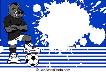 strong sporty wild pig soccer player cartoon background in...
