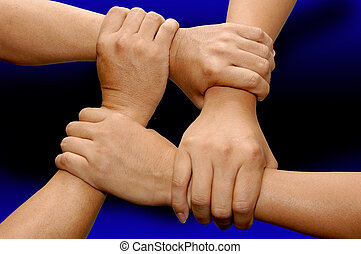 Strong Team Work - Strong man\\\'s arms making unbreakable...