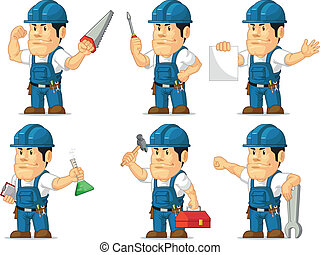 Strong Technician Mascot 2 - A vector set of a male...