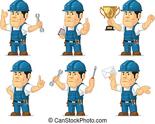 Strong Technician Mascot 3 - A vector set of a male...