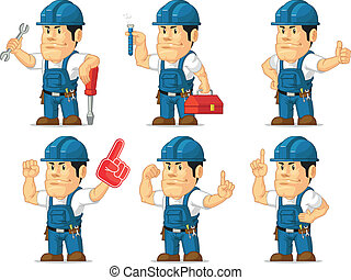 Strong Technician Mascot 6 - A vector set of a male...