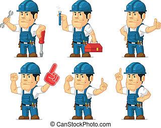 Strong Technician Mascot 6 - A vector set of a male...
