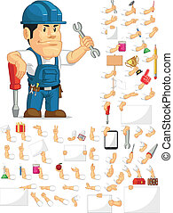 A vector set of a male technician or repairman in several poses. Drawn in cartoon style, this vector is very good for design that need technician or repairman element in cute, funny, colorful and cheerful style.