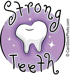 Strong Teeth Icon Illustration