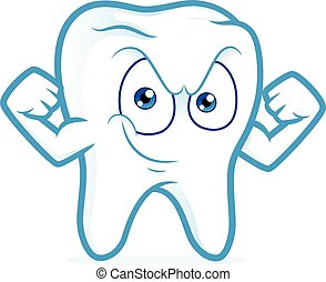Strong tooth flexing his arm - Clipart picture of a strong...