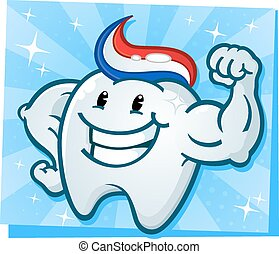 A powerful strong molar cartoon character flexing his bulging muscles and showing off his tooth paste hairdo