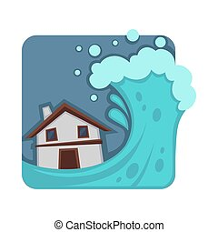 Strong tsunami that covers and destroys small house. Huge...