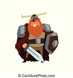 Strong viking warrior character with sword and shield in helmet with horns vector Illustration on a white background