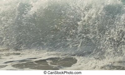 Strong waves at South China Sea on Dadonghai Beach slow motion stock footage video