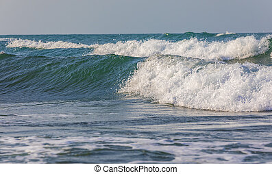 Strong waves on the coast of the Caspian Sea