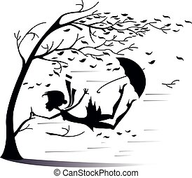 Strong wind and woman snatches up the tree illustration - ...