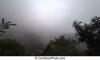 Strong wind blows, poor visibility due to clouds moving on ...