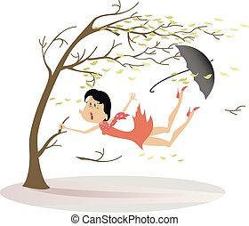 Strong wind, umbrella and woman snatches up a tree illustration