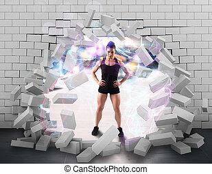 Strong woman bodybuilder