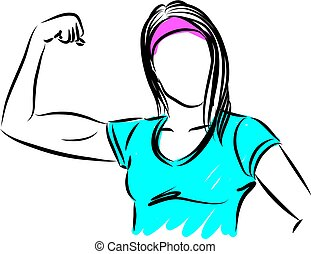 strong woman gesture vector illustration