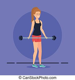 strong woman lifting weight